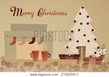 Christmas time. Two cups with Christmas tree, presents and socks over the fireplaceText : Merry Christmas