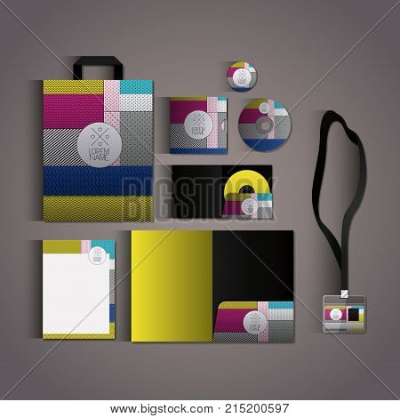 stationary templates with texture colours business stationery on gray background vector illustration