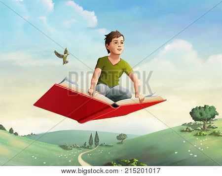 Children flying on an open book through a rural landscape. Digital illustration.