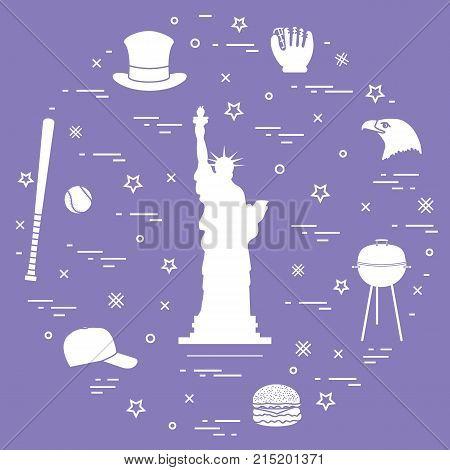 Illustration Of Statue Of Liberty, Eagle Head, Stars, Hamburger, Bat And Ball For Baseball, Barbecue