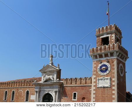 Venice Italy Clock Tower Of An Ancient Palace Called Arsenale
