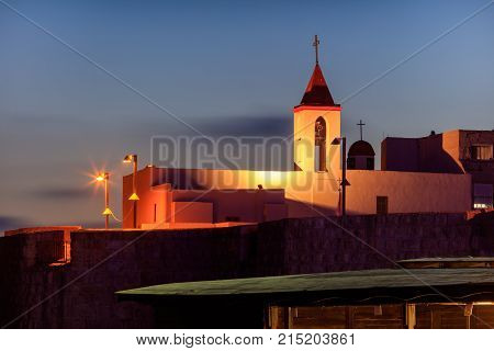 Beautiful, Evening View Of The Church Of St. John The Baptist In The City Of Acre. Israel.