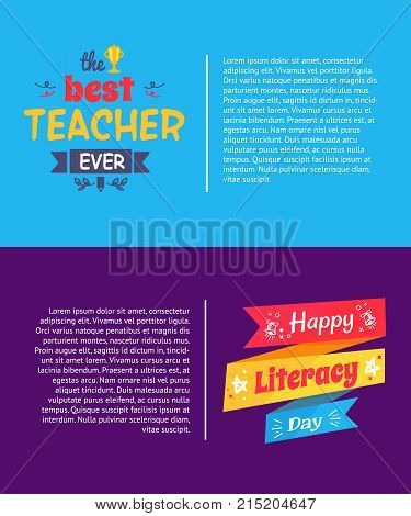 Best teacher ever poster set of two, including text sample and written on ribbons titles with symbolic icons of pen, star and bell vector illustration