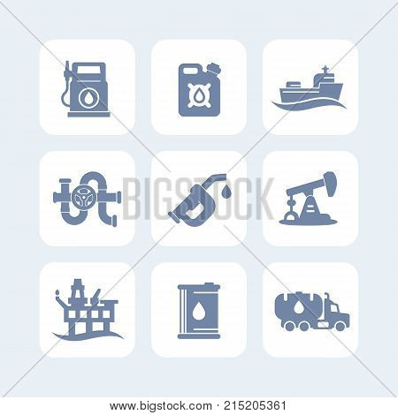 Petroleum industry icons set, gas station, petrol canister, gasoline nozzle, barrel, oil production platform, rig, derrick, tanker ship