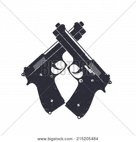 crossed modern pistols, vector semiautomatic guns on white, eps 10 file, easy to edit