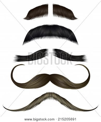 set vector mustache different colors. Beauty style. Realistic 3d.