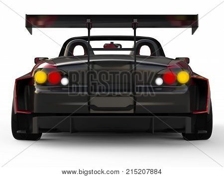 Modern dark red sports convertible. Open car with tuning. 3d rendering