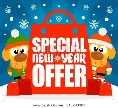 Special New Year Offer card with funny dogs.Vector illustration