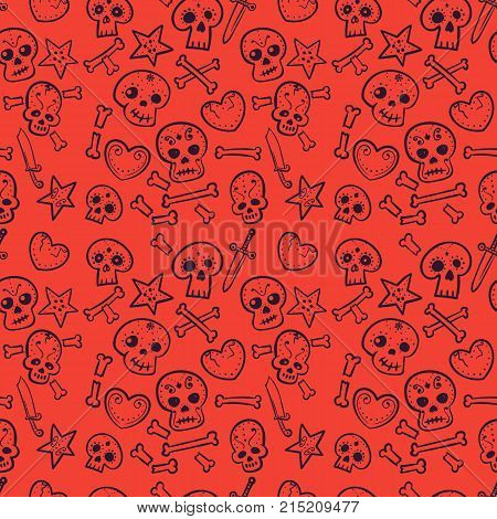 pattern with skulls and hearts, bones and daggers, vector seamless background