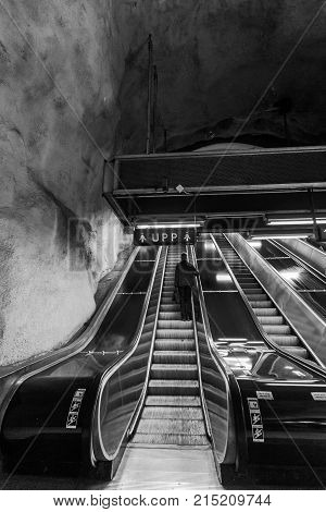 Stockholm, Sweden - 22Nd Of May, 2014. Stockholm Underground Metro Station T-centralen - One Of The