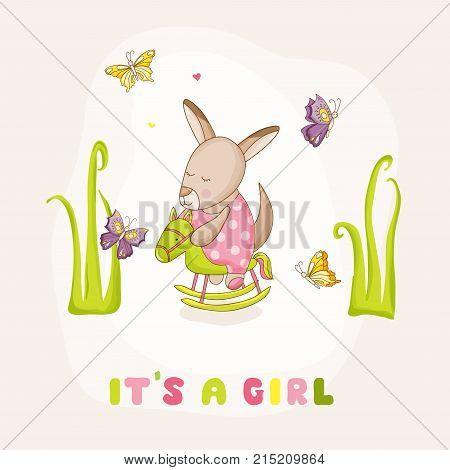 Baby Girl Kangaroo on a Horse - Baby Shower or Arrival Card - in vector