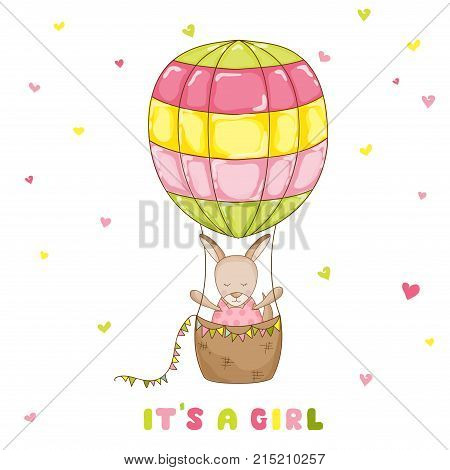 Baby Girl Kangaroo with a Balloon - Baby Shower or Arrival Card - in vector