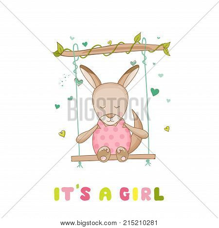 Baby Shower or Arrival Card - Baby Girl Kangaroo - in vector
