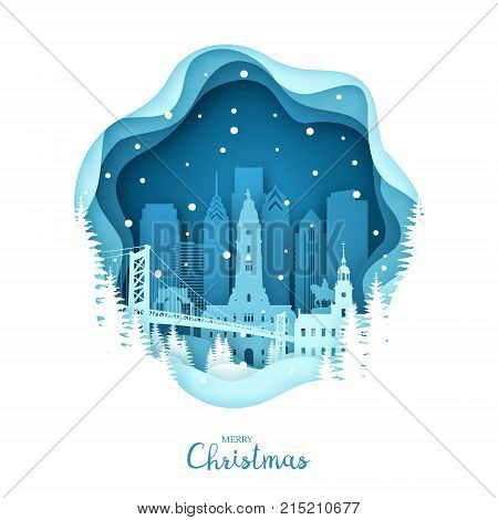 Christmas Philadelphia in the snow. Paper City Style. Vector illustration.
