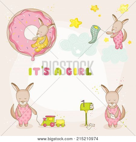 Baby Girl Kangaroo Set - Baby Shower or Arrival Cards - in vector