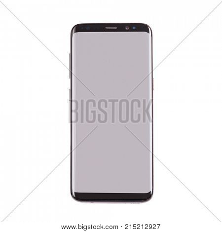 New version of smartphone with blank screen over white