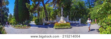 RUSSIA, SOCHI, AUGUST 30, 2015: Panoramic view with sculpture