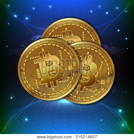 Bitcoin. Physical bit coin. Digital currency. Cryptocurrency. Golden coin with bitcoin symbol. Stock vector illustration for using in web projects or mobile applications.