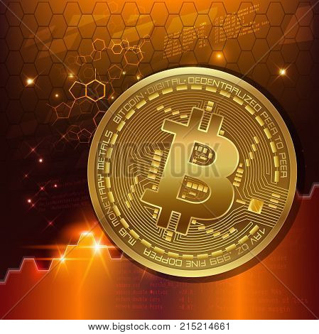 Abstract technology bitcoins with circuit line on gear gold background . Vector illustration bitcoin mining internet online technology concept. Blockchain based secure cryptocurrency.