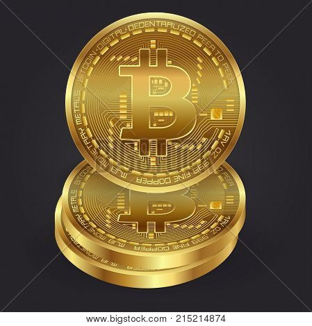 Bitcoin 3D Gold Coins Vector Set. Realistic. Digital Currency Money. Investment Concept. Cryptography Finance. Fintech Blockchain. Gray background