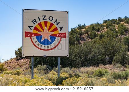 ARIZONA USA - OCTOBER 13 2017: Arizona welcome sign at the state border along highway