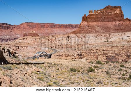 Bridge at Glen Canyon National Recreation Area at the western end of Lake Powell near Hite Arizona