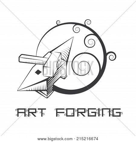 illustration consisting of an image of a hammer and anvil in the form of a symbol or logo
