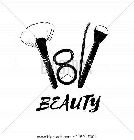 Fashion Beauty Cosmetics Logo Banner With Make Up Artist Objects: Make-up Brushes, Eyebrow Brush And