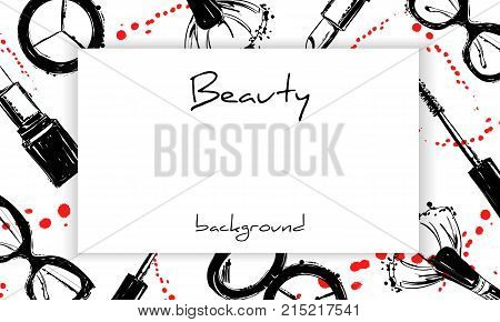 Beauty Background With Cosmetics Elements With Ink Droplets And Sprays. Hand Drawn Graphic Makeup Br