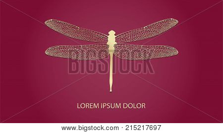 Vector Logotype For Jewelry Boutique, Store, Shop. Elegant Gold Dragonfly Silhouette At Bordeaux Red