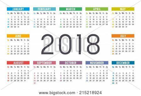 Year 2018 colorful minimalist calendar on white background.