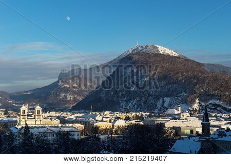 Panorama Salzburg With View On Gaisberg In Winter, Austria
