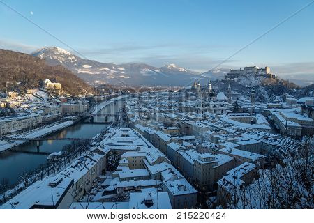 Panorama Salzburg With View On Fortress And River In Winter, Austria