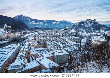 Panorama Salzburg During Sunset With View On Fortress In Winter, Austria