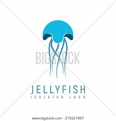 Isolated abstract jellyfish on white background. Meduse logo sign of fishing trade. Future food