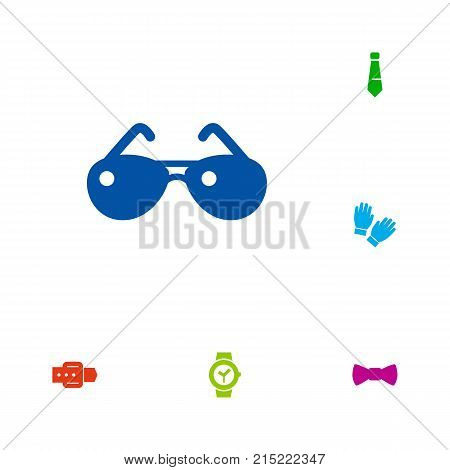 Collection Of Spectacles, Strap, Mitten And Other Elements.  Set Of 6 Accessories Icons Set.
