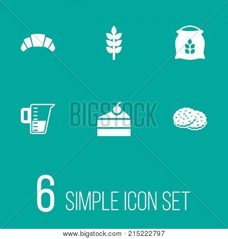 Collection Of Grain, Sack, Sweetmeat And Other Elements.  Set Of 6 Pastry Icons Set.