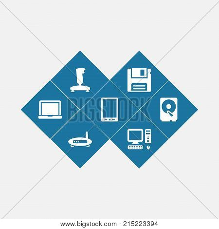 Collection Of Palmtop, Laptop, Diskette And Other Elements.  Set Of 7 Computer Icons Set.