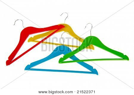 Colorful coat-hanges in red blue green and yellow