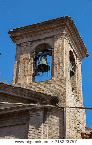 Old brick bell tower in Urbino Italy.