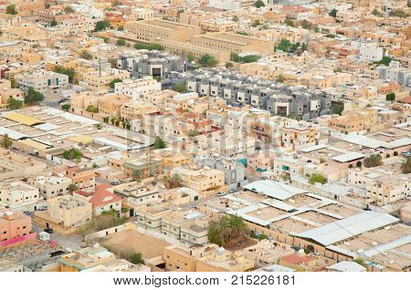 Aerial view of Riyadh downtown. Riyadh, Saudi Arabia.
