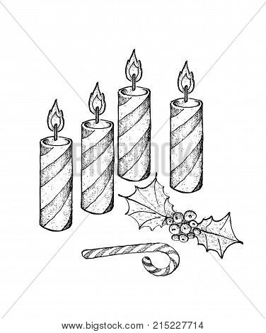 Four Christmas Candles with Holly Twigs and Candy Cane, Symbolise The Light of God Coming into The World Through The Birth of His Son, Jesus.