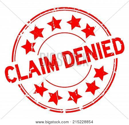 Grunge red claim denied with star icon round rubber seal stamp on white background