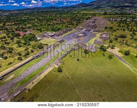 Teotihuacan Pyramids civilization Moon and Soon Pyramids invaded by Maya and Azteca aerial view