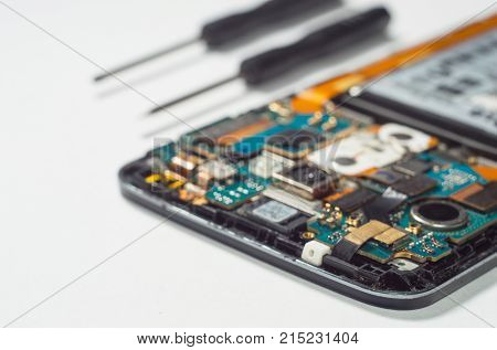 Concept of fixing smartphone mobile phone repairing