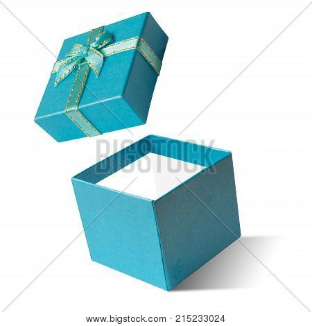 Blue gift box open isolated on white background Happy new year & christmas holiday Boxing day sale or father day concept