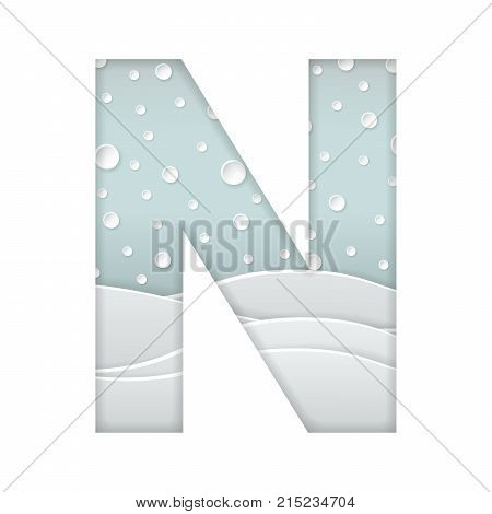 color vector illustration of paper art cut letter N with winter landscape with multi layers and shadows effect isolated on white background