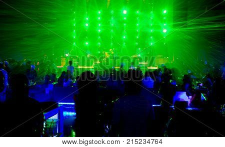 concert festival event and green laser for fun