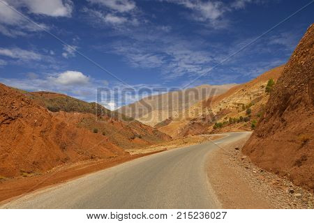 Road in the mountains at the Atlas, north of Morocco