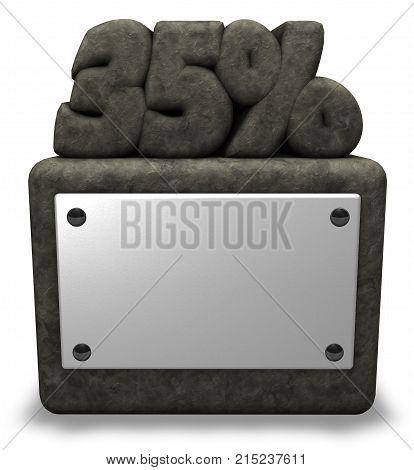 stone number thirty-five and percent symbol on stone socket - 3d rendering